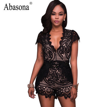 Abasona Black floral embroidery bodysuit Sexy deep v neck boho lace crochet jumpsuit romper Summer fashion streetwear playsuit