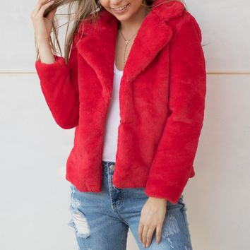 Teddy Faux Fur Coat-Red