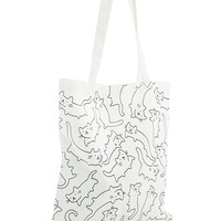 Cat Print Canvas Tote Bag