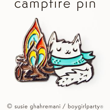 Camping Cat Enamel Pin - Cat Pin - Adventure Enamel Pin by boygirlparty