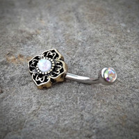 Tribal White Bronze Belly Button Navel Ring Body Jewelry Fits in Navel 14ga Cute Belly Ring Surgical Steel