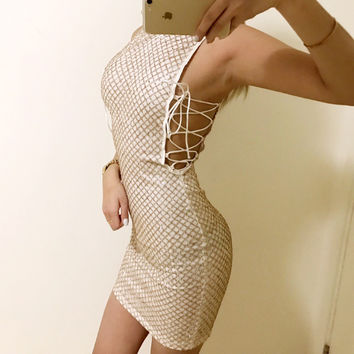 Glitter Babe Gold Side Cut Out Criss Cross Dress