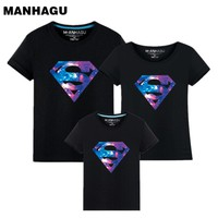 Summer Style Superman Mother and Daughter Father and Son Clothes Mommy and Me Clothes Family Matching T shirts
