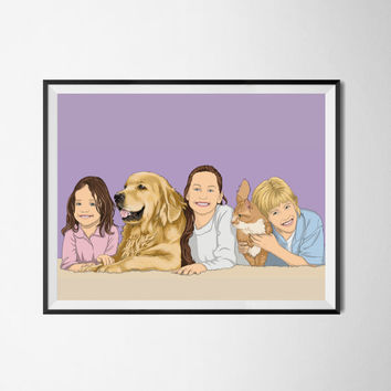 Three or Four persons & 1,2,3,4,5 pets. Family portrait. Custom drawing. Christmas gift. Gift for couples. Bespoke portrait from photo.