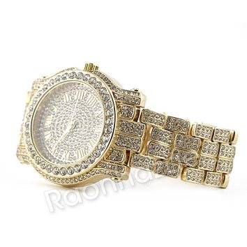 Hip Hop 14K Gold Simulated Diamond Watch F47