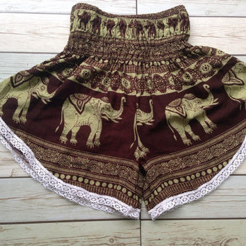 High waisted Lace Shorts Elephants Boho Print Summer Chic Fashion Trim Tribal Aztec Ethnic Clothing Bohemian Ikat Clothes Hobo Brown Beach
