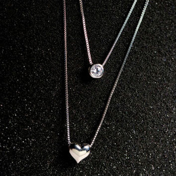 925 Sterling Silver Jewelry AAA Zircon CZ Diamond Love Heart Necklaces&Pendants Multilayer Double Choker Statement Necklace D342