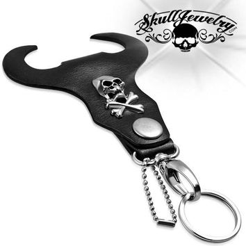 Skull & Crossbones Biker Key Chain w/ Leather Bullhead (kc012)