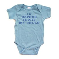 I'd Rather Be With My Uncle - Blue Design - Short Sleeve Baby Bodysuit