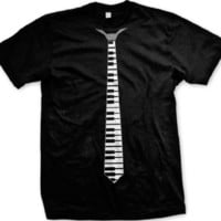 Fake Piano Keys Necktie Mens T-shirt, Funny Fake Tie Men's Tee Shirt