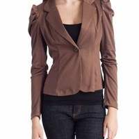 button front blazer $27.10 in BLACK BROWN - Blazers | GoJane.com