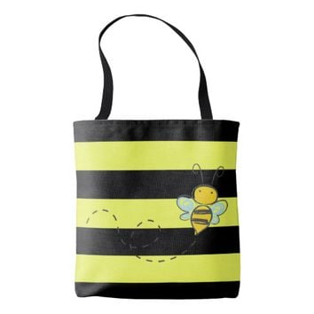 Bee w/Black and Yellow Stripes Tote Bag