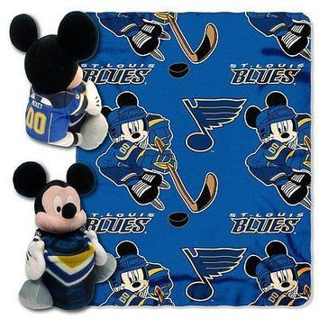 St Louis Blues NHL Mickey Mouse Throw and Hugger Pillow Set
