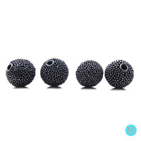 Four Round Sterling Silver Granulation Beads Handcrafted in Bali, 8mm diameter, 4.5 grams. Four 925 Sterling Silver Ball Beads