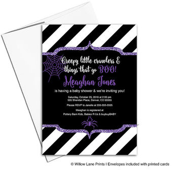 Halloween baby shower invitation girls | purple black white stripes | halloween invitations | spider web | printable or printed - WLP00715