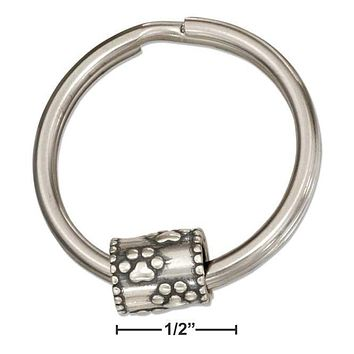Sterling Silver Accessories:  Paw Prints Slider Bead On Stainless Steel Key Ring