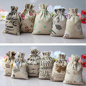 New Hessian Burlap Linen Jute Drawstring Pouch Favor Gift Bag Wedding Sacks HU