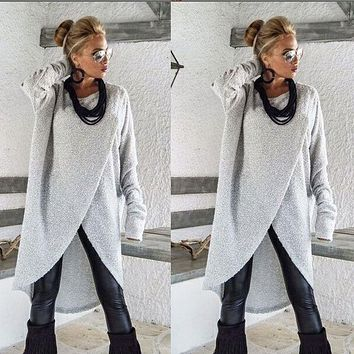 Women Long Sleeve Sweater Blouse Ladies Asymmetric Dress Jumper Pullover Tops US