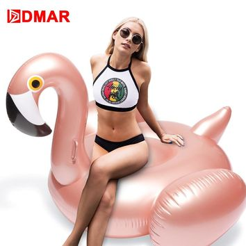 DMAR 150cm 59inch Inflatable Flamingo Rose Gold Giant Pool Float Toys Swimming Ring Circle Sea Mattress Beach Party Unicorn