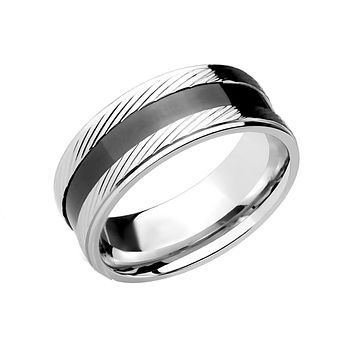 Mr. Essential - Men's Stainless Steel Ring With Black Ion Plated Center