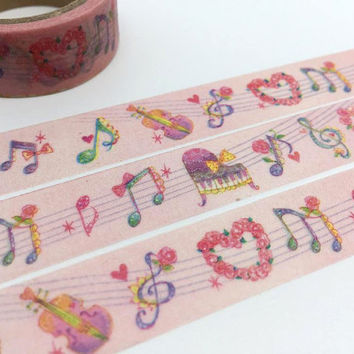 Music tape 5M Music note piano violin washi tape Music decor gift wrapping deco sticker tape Japanese masking tape removable adhesive tape