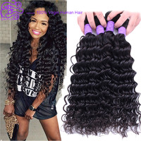 4 bundles no tangle 7a peruvian virgin hair deep wave human hair weave curly