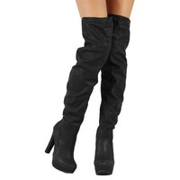 Women's Qupid Theatre-15 Black Pu Leather Over Knee High Boots Shoes, Black PU, 5.5