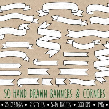Hand Drawn Banners Clip Art. Doodle Ribbon Banners. White Banners Clip Art. Digital Banners.