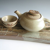 Olive Green Pottery Teapot Set Handmade by GreenCeramicArts