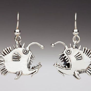 Angler Fish Earrings Silver - Fish Earrings - Fish Jewelry - Angler Fish Jewelry