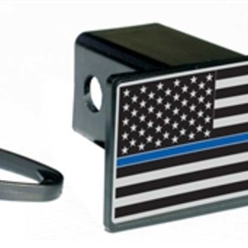 Subdued Thin Blue Line Flag Rectangular Hitch Cover