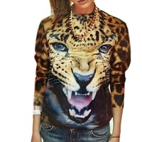 Etosell Women Sexy Leopard Sweater Suit 3D Tiger Print Shirt Blouse Tops Pants