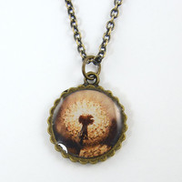 Dandelion Necklace - Rustic Sepia Wildflower Nature Brown White Photo Pendant Jewelry