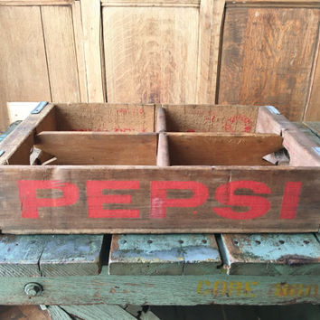 Vintage Pepsi Crate, Wood Pepsi Crate, Marion Illinois Wooden Pepsi Crate With Divider