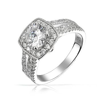 2CT Cushion Cut Solitaire AAA CZ Engagement Ring 925 Sterling Silver