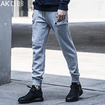 Men Sweatpants Full Length Rib Ankle Tied Pants Function Slim Fit Sweat Pants Baggy Casual Men Pants