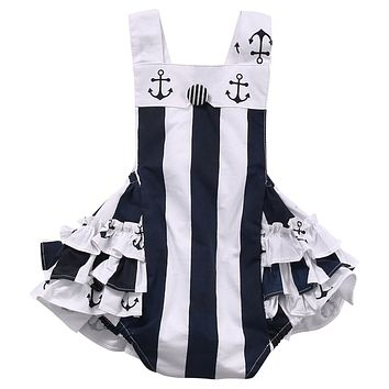 Newborn Kids Baby Girl Clothes vertical Striped Anchor Romper Jumpsuit Sun suit lacework Outfits
