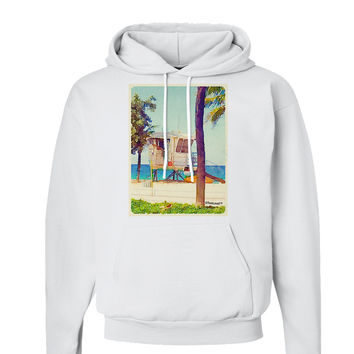 Lifeguard Station Watercolor Hoodie Sweatshirt