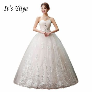 It's Yiiya 2017 new princess wedding gown lace romantic wedding dress fashion bride price under 50 Vestidos De Novia HS126