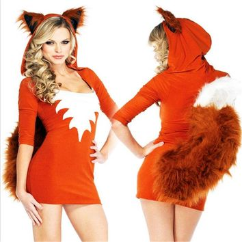 Sexy Cute Orange Tail Fox Costumes Halloween Sexy Animal Dress Skirt Carnival Party Faux Fur Costume sexy  costumesKawaii Pokemon go  AT_89_9