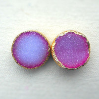 Hot pink druzy studs  Gold dipped  drusy agate  by jennleedesign
