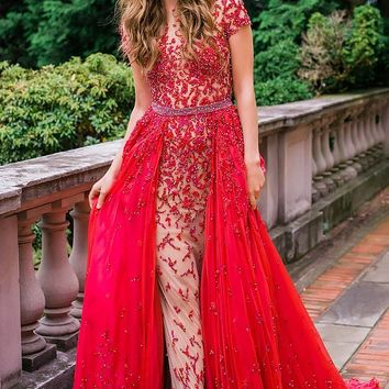 Short Sleeve Red Embellished Couture Dress 36345