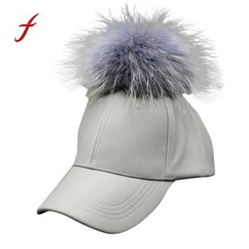 Newly Design 1pc Unisex Women Men Fashion PU Leather Baseball Caps Hat with Artificial Fur Ball 160913