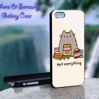 Pusheen The Cat Eat Every Thing - iPhone 4 4S iPhone 5 5S 5C and Samsung Galaxy S3 S4 Case