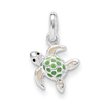 925 Sterling Silver Green Enameled Sea Turtle Girls Pendant