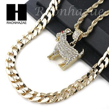 "ICED OUT KODAK BLACK GOAT CHARM DIAMOND CUT 30"" CUBAN CHAIN NECKLACE SET G24"