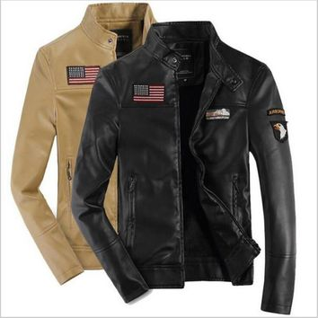 New Air Force Leather Jacket Men 's Leisure PU Leather Flying Tigers Jacket Autumn Uniform Jacket