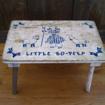 Vintage Rustic Wooden Little Bo Peep Stool