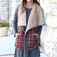 It Girl Fur Lined Plaid Vest {Red Mix}
