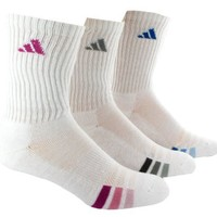 adidas Women's Cushioned 3pk Crew Sock White/Ray pink/Light Aqua/Blast Purple